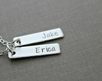 Sterling Silver multiple Name Bars Necklace, Rectangle Charms,  Personalized, Nameplates, Hand Stamped, Mommy Jewelry, Childrens Names