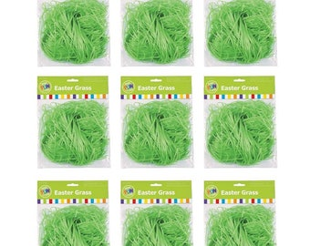 Set of 12 Packages Green Plastic Easter Grass (1oz Each)
