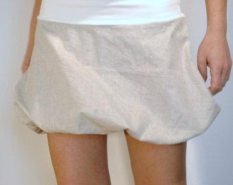 Miniskirt - Linen Skirt - Bubble Skirt - Linen Short Skirt - Cream Skirt -Linen Clothing - Cream Short Skirt - Bubble Clothing - Flax Skirt