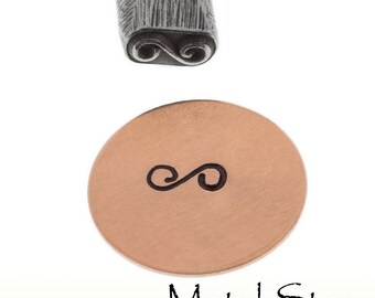 Swirl Flourish Accent Metal Design Jewelry Stamp Tool for use with soft metals made of hardened tool steel