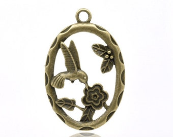 Humming Bird & Flower Charms Oval Pendant - Single Piece