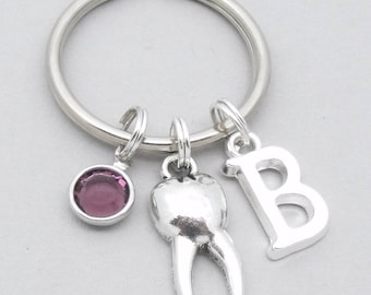 Tooth keyring | tooth keychain | personalised dentist gift | dental nurse gift | dental hygienist | monogram initial