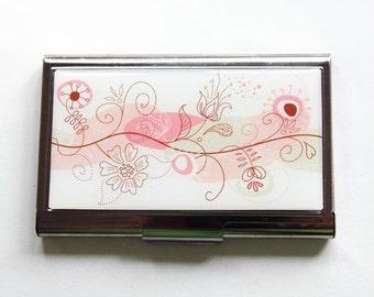 Porte cartes d'affaires, boîtier en fleur rose, cartes d'affaires, porte-cartes, étui pour elle, fleurs rose, Floral cas (3091)