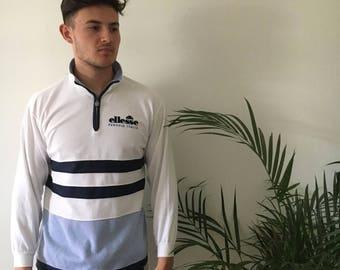 retro Ellesse quarter zip up sweatshirt, size M