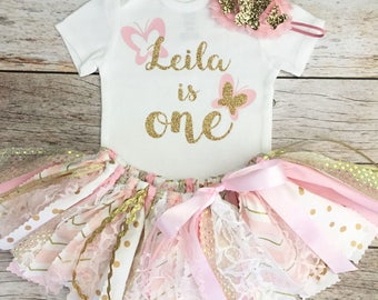 Butterfly Birthday Outfit with Butterfly Headband, Pink and Gold Birthday Outfit, Pink and Gold Fabric Tutu, Baby Girl First Birthday