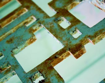 Industrial photography print, turquoise metal print, antique metal photo print, rusted decor metal photo print