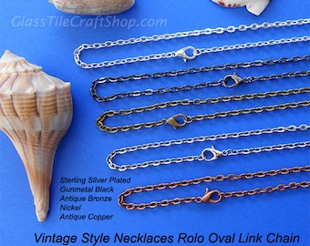 200 Vintage Style Necklaces, 24 Inch, 3x4mm Oval Links, Silver, Antique Bronze, Antique Copper, Nickel, Gunmetal Black. (MIXRCN24)