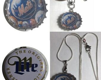 Miller Lite Beer Bottle Cap NY Mets baseball Keychain, Pendant, Necklace