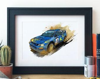 Subaru Impreza World Rally Car Illustration