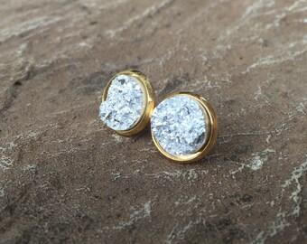 Silver Druzy, Chunky Silver Druzy, 12mm Druzy, Druzy Studs, Faux Druzy Earrings