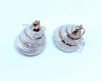 Earrings - ref1012 - - 45 mm - with shell gold and silver