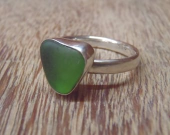 Sea Glass Ring Sz 7 1/4. Solid Sterling Silver Ring With Sea Green Sea Glass Setting. Genuine Sea Glass. Bezel Set Sea Glass. Gift For Her.