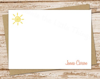 personalized sun note cards . sunshine notecards . personalized FLAT stationery . swirly sun summer beach outdoors cards . set of 10