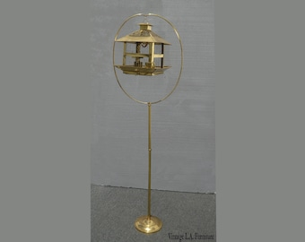 Vintage Hendryx Rustic Gold Bird Cage on Floor Stand