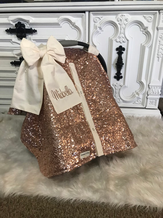 Rose Gold and Cream car seat canopy  / carseat cover / carseat canopy /sequin / infant car seat cover / gold / sparkle