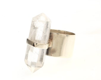 Quartz Round Silver Band Ring