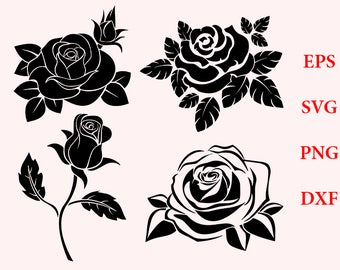 Rose svg, rose silhouette, rose clipart - rose blossom clip art vector digital download svg, eps, dxf, png, flowers svg, t-shirts files, svg