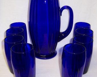 New Martinsville Elegant Glass Cobalt Blue OSCAR Water Pitcher Set with Eight Glasses