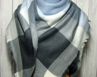 SALE Blanket Scarf for Women in Blue, Gray & White