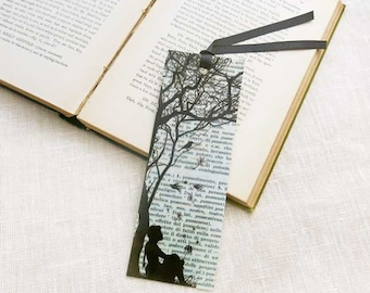 Little girl with dandelion bookmark-book art bookmark-dandellion bookmark-quote bookmark-bookmark-favor bookmark-by NATURA PICTA-BKMK006