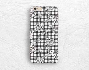 Black and White Checkered Floral flower phone case for iPhone 7, Google Pixel, Sony Xperia XZ, LG G5, Nexus 5X, Samsung S7, Nexus 6P -P101