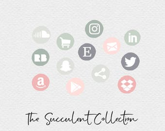 Muted Social Media Icons , Pink Green and Grey , Succulent Icons , Grey Icons , Pink Icons , Green Icons , Blog Elements, Website Elements