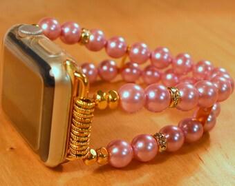 Apple Watch Band, Watch Band for Apple Watch, Pink Pearl Apple Watch Bracelet, Watch Band, Watch Bracelet
