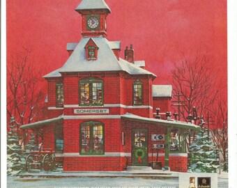 1981 Advertisement Johnnie Walker Red Somerset Train Station Home Red Holidays House Festive Christmas Restaurant Bar Pub Wall Art Decor