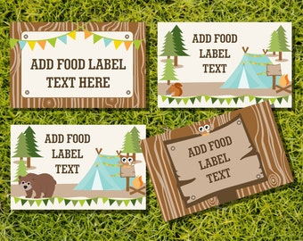 Camping Tent Party Tent Cards, Food Labels, Buffet Cards, Food Tags, Labels - Camping Editable - Instantly Downloadable File