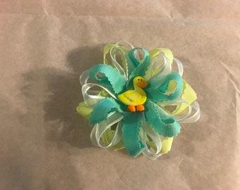 Blue Yellow Sheer Duck Hair Bow clip