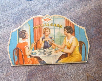 Figural Clark's Needle Threader + 1930s Women's Sewing Circle Graphic 'W' Needle Book; Rare Vintage Sewing; U.S. Shipping Included