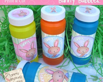 Easter Bubble Party Favors, Printable Easter bubble labels, Easter Bubble Wrappers, Easter bunny basket stuffer for kids