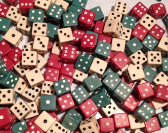 Lot of 24 Vintage Dice, Mixed Colors, 8 red, 8 green, and 8 white