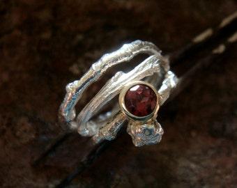 garnet wedding ring set/  garnet stacking ring, sterling silver and 9k gold bezel, made in your size