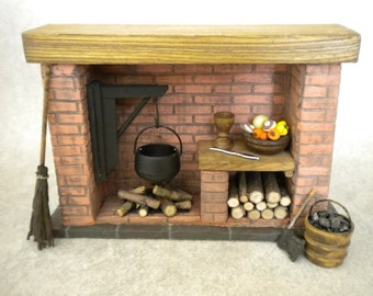 Barbie Doll House Kitchen Fireplace 1:6 Scale Colonial, Tudor, Medieval, Cooking, Historical.