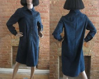 1970s Halston midnight blue ultrasuede dress