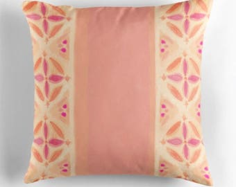 Orange & pink flower striped cushion cover / original hand painted watercolour design
