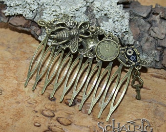 Steampunk hair comb with clock, bee and keys