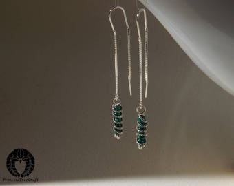 Tiny sterling silver threader earrings with malachite