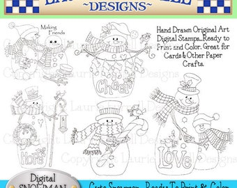 Snowman Digital Stamps, Laurie Furnell, Christmas Stamps, Digi Stamps, Digital Snowman Stamps, Christmas Cards, Paper Crafts, Scrapbooking