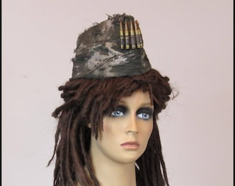 Apocalyptic MILITARY HAT Fallout Hat Army GARRISON Hat with Brass Bullets
