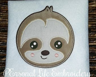 Sloth Applique Design, Sloth Embroidery Design, Digital Sloth Pattern, Machine Embroidery Sloth, Applique Download, Embroidery Download