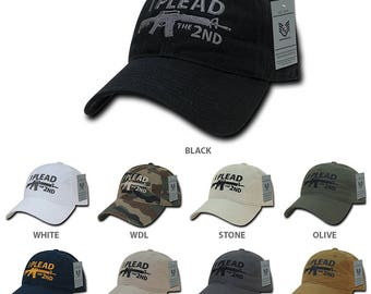 I Plead the 2nd Embroidered Soft Crown Washed Cotton Baseball Cap (A03-1IP2)