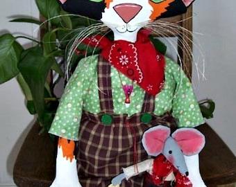 Cat Doll Pattern, Cloth Doll Pattern, Primitive Doll Pattern, Cloth Cat Pattern, Doll Pattern, Downloadable Sewing Pattern, Matty Mouser