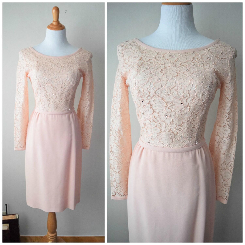 50er/60er Jahren Pulver rosa Spitze-Cocktail-Kleid / / Langarm