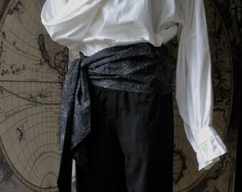 Pirate Sash,  Cotton. Black and Grey