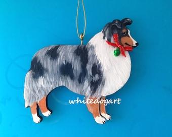 Custom Handpainted Blue Merle Collie Christmas Ornament