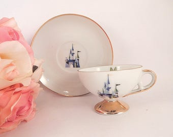 Cup and Saucer Disneyland Souvenir Tinkerbell Sleeping Beauty Castle Demitasse Coffee Tea  Serving Vintage 1950s Porcelain Disneyana