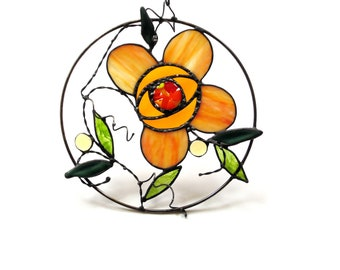 Stained glass Spring flower window decor, funky flower, orange and yellow, fused glass flower suncatcher panel