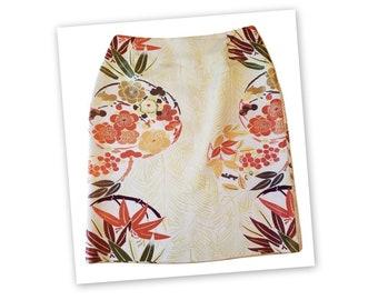 1990s Anne Klein Floral Embroidered Silk Short Pencil Skirt